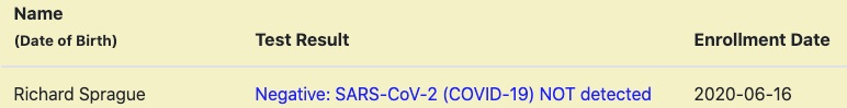 Negative results for COVID-19